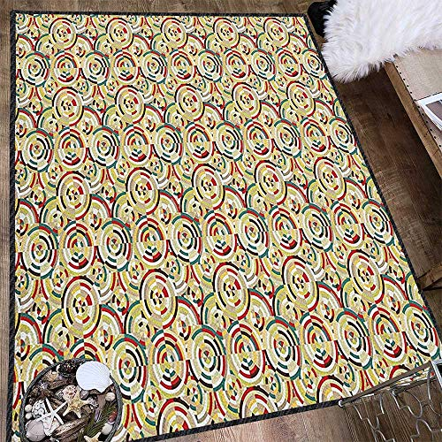 Geometric Abstract Design Area Rug,Rhombuses Square Tiles and Circles Colorful Abstract Circular Bullseye Pattern Provides Protection and Cushion for Floors Multicolor 63
