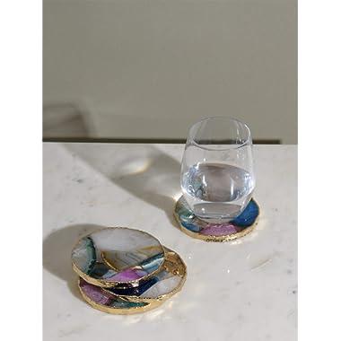 "Best Home Fahion Mixed Agate Coaster - MIXAGATE - 4.0"" Diameter"