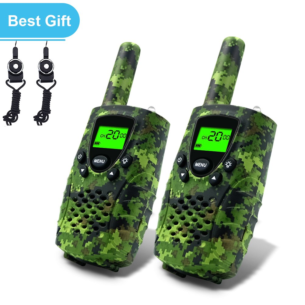 Walkie Talkies for Kids,22 Channels FRS/GMRS UHF Kids Walkie Talkies, 2 Way Radios 4 Miles Walkie Talkies Kids Toys with Flashlight by EWOR, 1 Pair,Camo (Camo Green) by E-wor (Image #2)