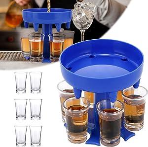 Newegger 6 Shot Glass Dispenser and Holder, Multiple Shot Glass Dispenser for Filling Liquids, Cocktail Dispenser, Carrier Liquor Dispenser Gifts, Perfect for Christmas Carnival, Party.