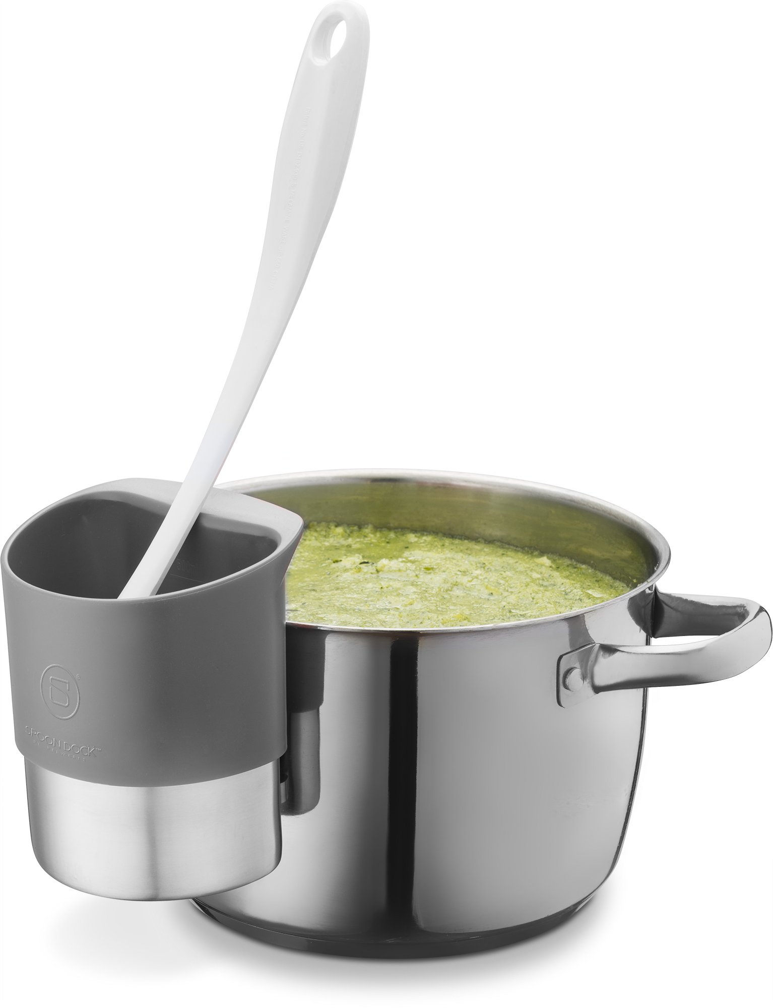 Spoon rest Stainless Steel Spoon Dock for Utensils - This Cup Hangs on Saucepans and Pots for Preparing and Serving Food Without Creating a Mess - Use as a Measuring Cup, Mix, Pouring … (Grey) by Belwares