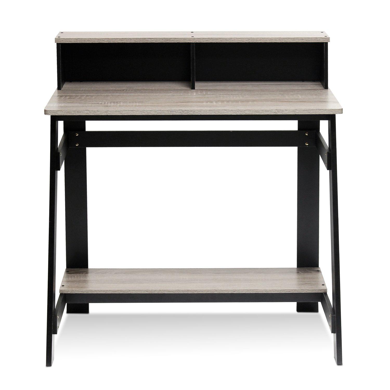Furinno 14054BK/GYW Simplistic a Frame Computer Desk, Black/Oak Grey by Furinno