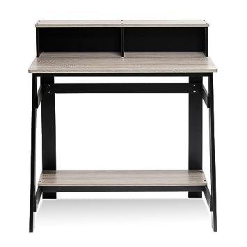 furinno 14054bkgyw simplistic a frame computer desk blackoak grey