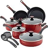 Paula Deen 12 Piece Riverbend Aluminum Nonstick Cookware Set, Red Speckle