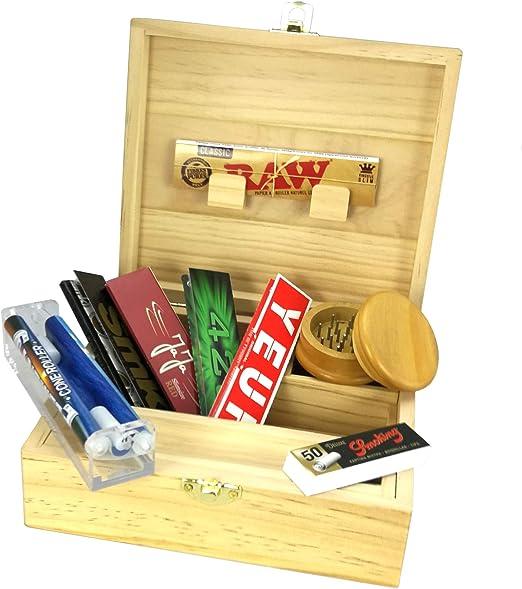 Caja XL para fumadores + Accesorios (enrollador cónico, papel y ...