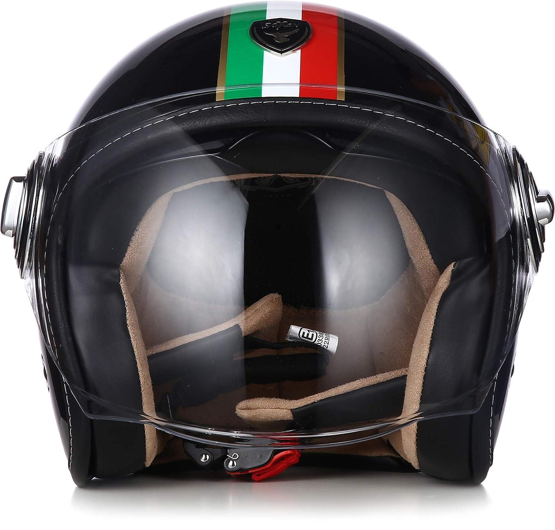 "SOXON/® SP-888 /""Sir Snow/"" /· Jet-Helm /· Motorrad-Helm Roller-Helm Scooter-Helm Bobber /· ECE Sonnenvisier Schnellverschluss SlimShell Tasche XL 61-62cm"
