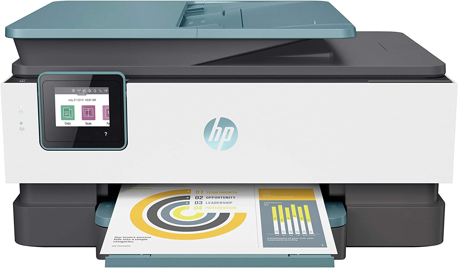 HP OfficeJet Pro 8000 Series All-in-One Color Inkjet Printer for Home Office - Print Copy Scan Fax - 20 ppm, Duplex Print, Voice-Activated, 35-Page ADF, WiFi and Cloud-Based Wireless Printing - Blue