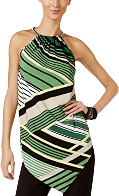 Alfani Womens Striped Asymmetric Halter Top