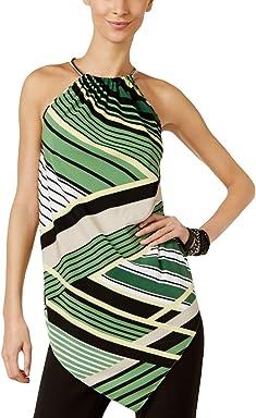 Alfani Womens Striped Asymmetric Halter Top