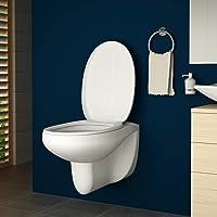 AQUAMARIN Cuvette WC   Blanche, env. 54/36/35 cm, en Plastique et Céramique, avec Abattant à Fermeture   Cuvette Suspendue à Fond Plat