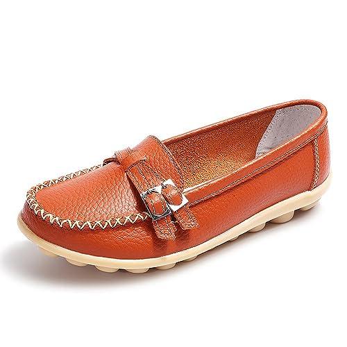 Amazon.com: labatostyle Zapatillas de mujer de piel ...
