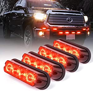 Xprite Red 4 LED 4 Watt Emergency Vehicle Waterproof Surface Mount Deck Dash Grille Strobe Light Warning Police Light Head with Clear Lens - 4 Pack