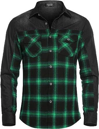 Qioti Camisa vaquera para hombre, camisa vaquera, camisa a cuadros, bolsillo en el pecho, corte regular