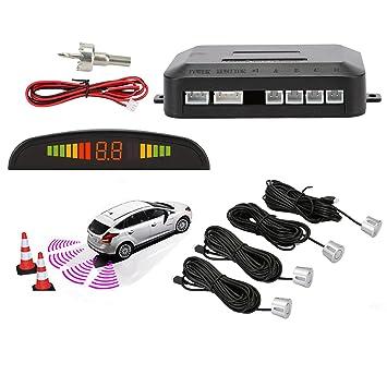 Sensores de Aparcamiento Marcha Atras,OSAN Kit de Auto LED Display + Alarma de Sonido + 4 Sensores Plata: Amazon.es: Coche y moto