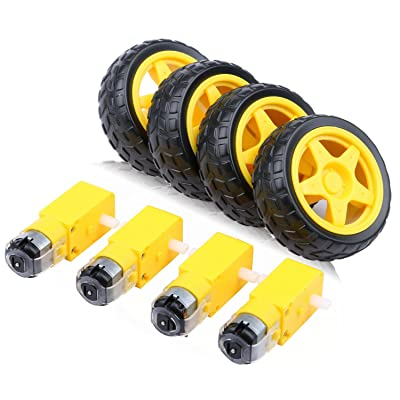 4pcs DC Electric Motor 3-6V Dual Shaft Geared TT Magnetic Gearbox Engine with 4Pcs Plastic Toy Car Tire Wheel, Mini Φ67mm Smart RC Car Robot Tyres Model Gear Parts, Yeeco: Home Improvement