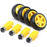 Yeeco 4pcs DC Electric Motor 3-6V Dual Shaft Geared TT Magnetic Gearbox Engine with 4Pcs Plastic Car Tire Wheel, Mini Φ67mm S
