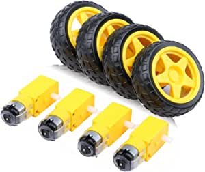 Yeeco 4pcs DC Electric Motor 3-6V Dual Shaft Geared TT Magnetic Gearbox Engine with 4Pcs Plastic Car Tire Wheel, Mini Φ67mm Smart RC Car Robot Tyres Model Gear Parts