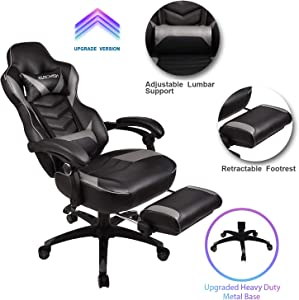 Video Gaming Chair Racing Office - PU Leather High Back Ergonomic Adjustable Swivel Executive Computer Desk Task Large Size with Footrest,Headrest and Lumbar Support(Grey)
