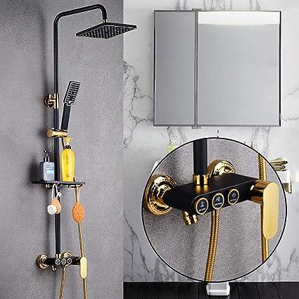 Square Thermostatic Shower Set Black Gold Three-block Smart Shower ...