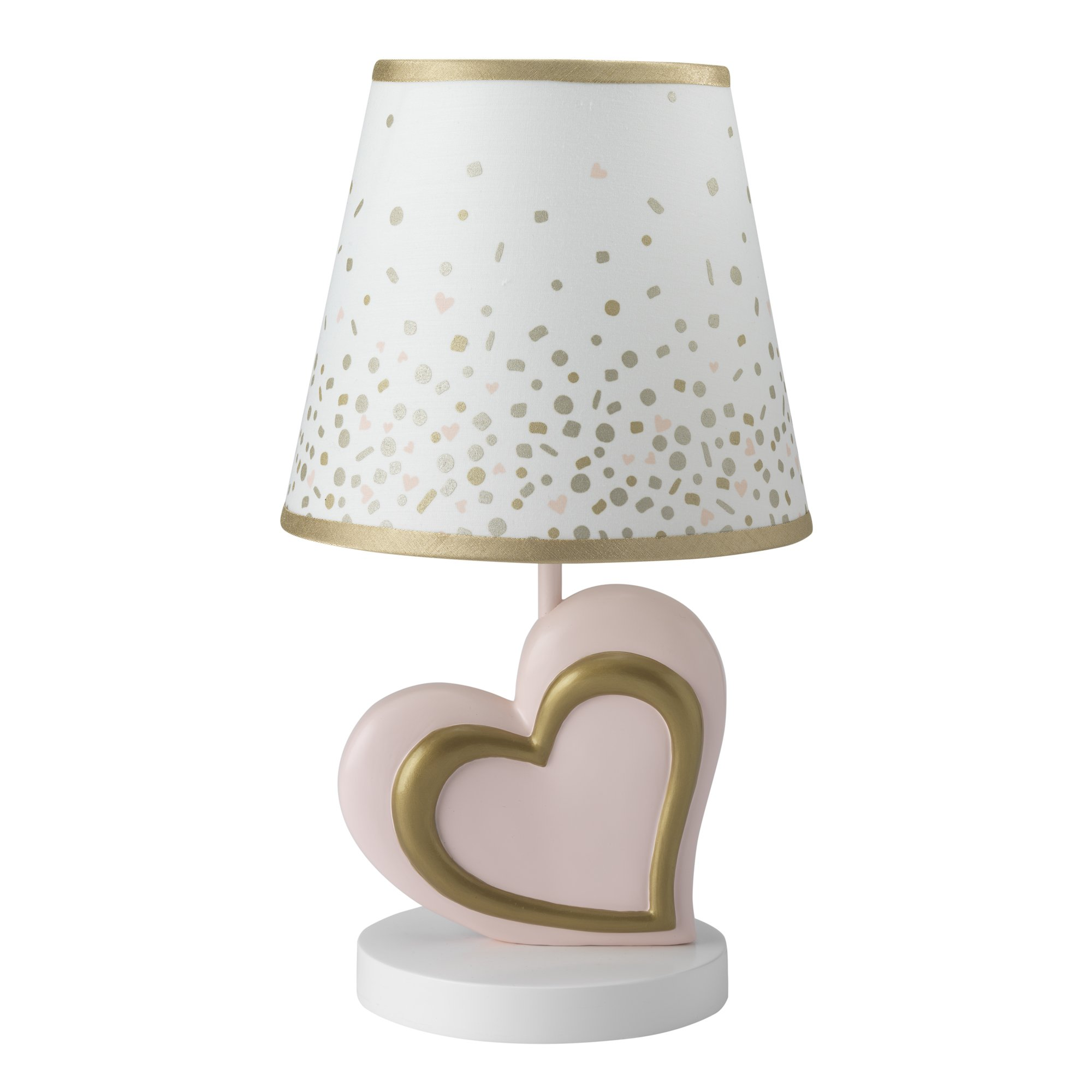 Lambs & Ivy Confetti Heart Lamp with Shade & Bulb, Pink/Gold by Lambs & Ivy