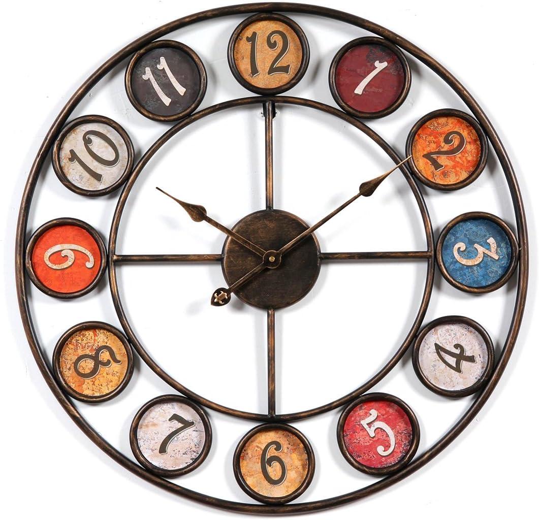 Reloj de Pared Silencioso, 60 cm Grande XXL de Metal, Modernos Reloj Decoración Adorno para Hogar Salon Oficina Comedor Habitación