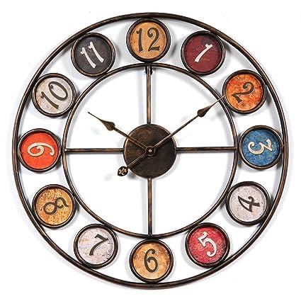 OviTop 60cm Europeo Stile Orologio da Parete Vintage Orologio da Parete  Silenzioso Orologio da Parete di Ferro per Cucina, Camera da Letto o ...