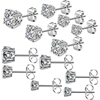 Cadiaon Women's Stud Earrings: Round Cubic Zirconia, Stainless Steel, Plated White Gold, 3-8mm (6 Pairs)