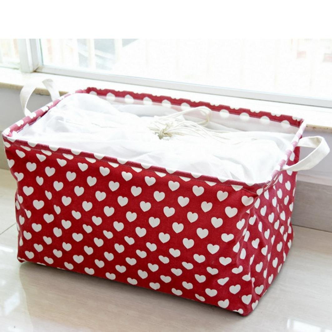 Multi-Purpose Storage Basket, Liu Nian Love Printed Waterproof Foldable Large Space Sundries Storage Basket Box with Linen Handle For Clothes, Toys, Home Office Laundry (Red)
