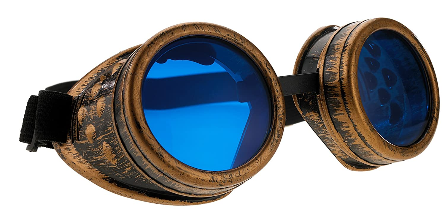 4sold Steampunk Blue Lenses Black Cyber Goggles Rave Goth Vintage Victorian Sunglasses Welding Cosplay Vintage Rustic Hippy Party Fancy Dress with set sticker, glasses and box glasses and box (Black Adult) 4sold ltd b-1
