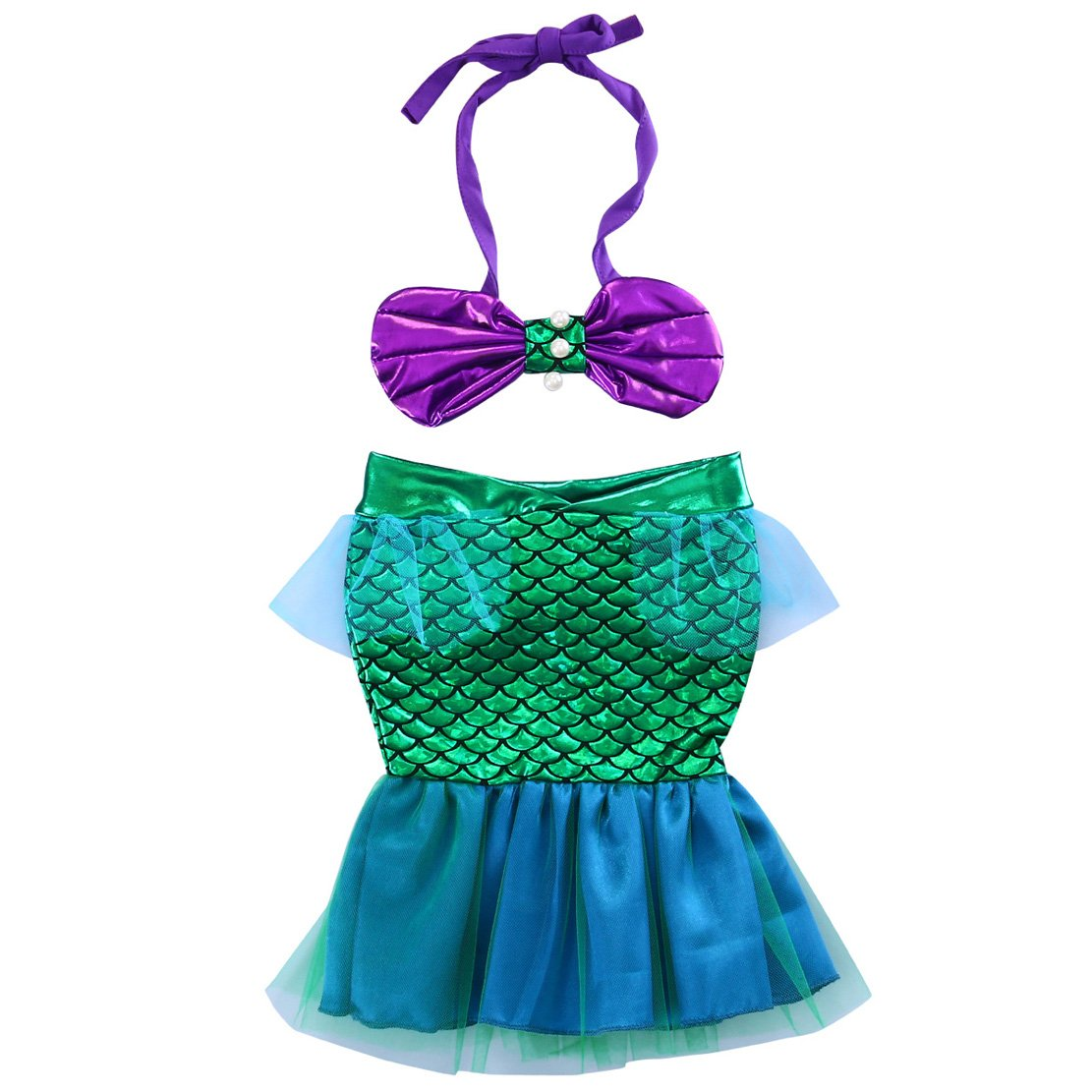 Toddler Baby Girls Halter Bow Crop Top+Green Mesh Mermaid Skirt Swimsuit Kids Clothes for Photo Shoot baby swimwear