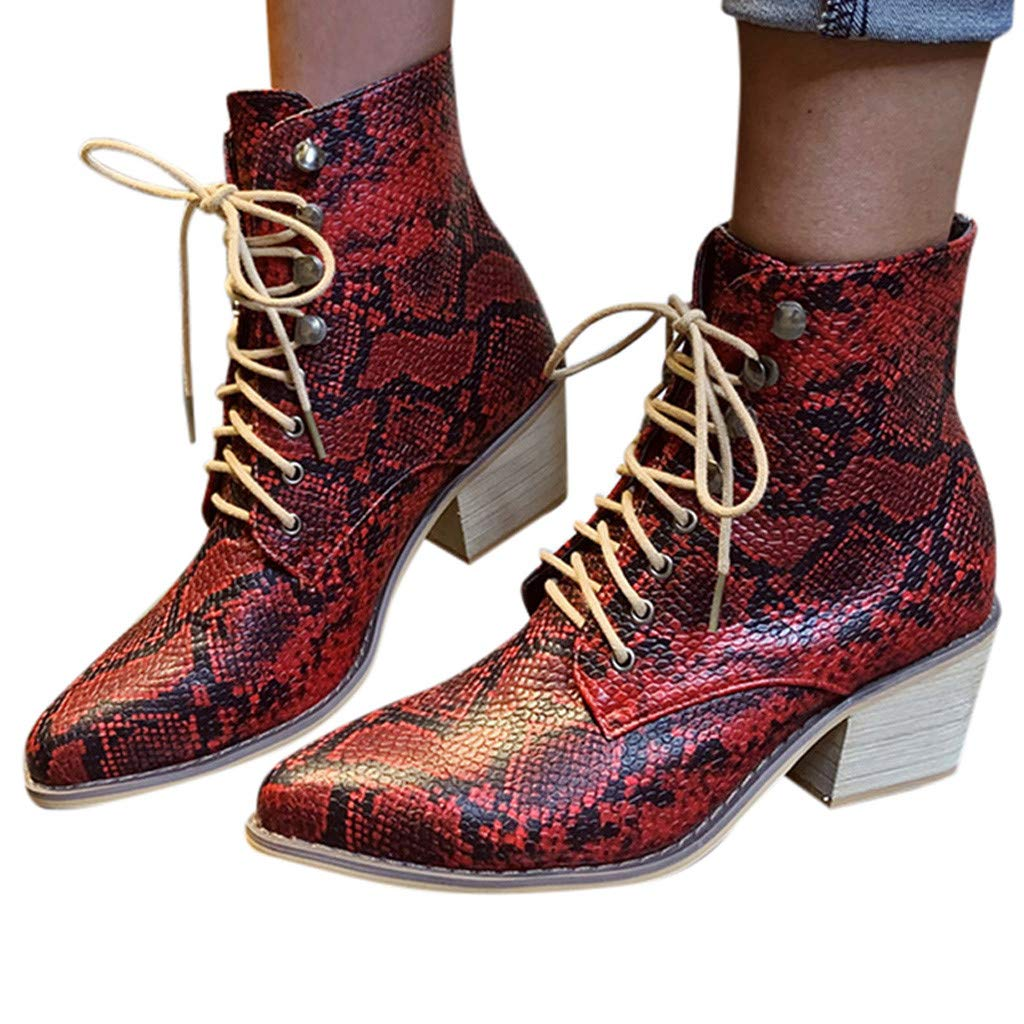 Women's Simple Dressy Ankle Booties - Square Heel Serpentine Lace-Up Mid Heels Comfy Booties (US:6.5, Red) by Kinrui Women Shoes