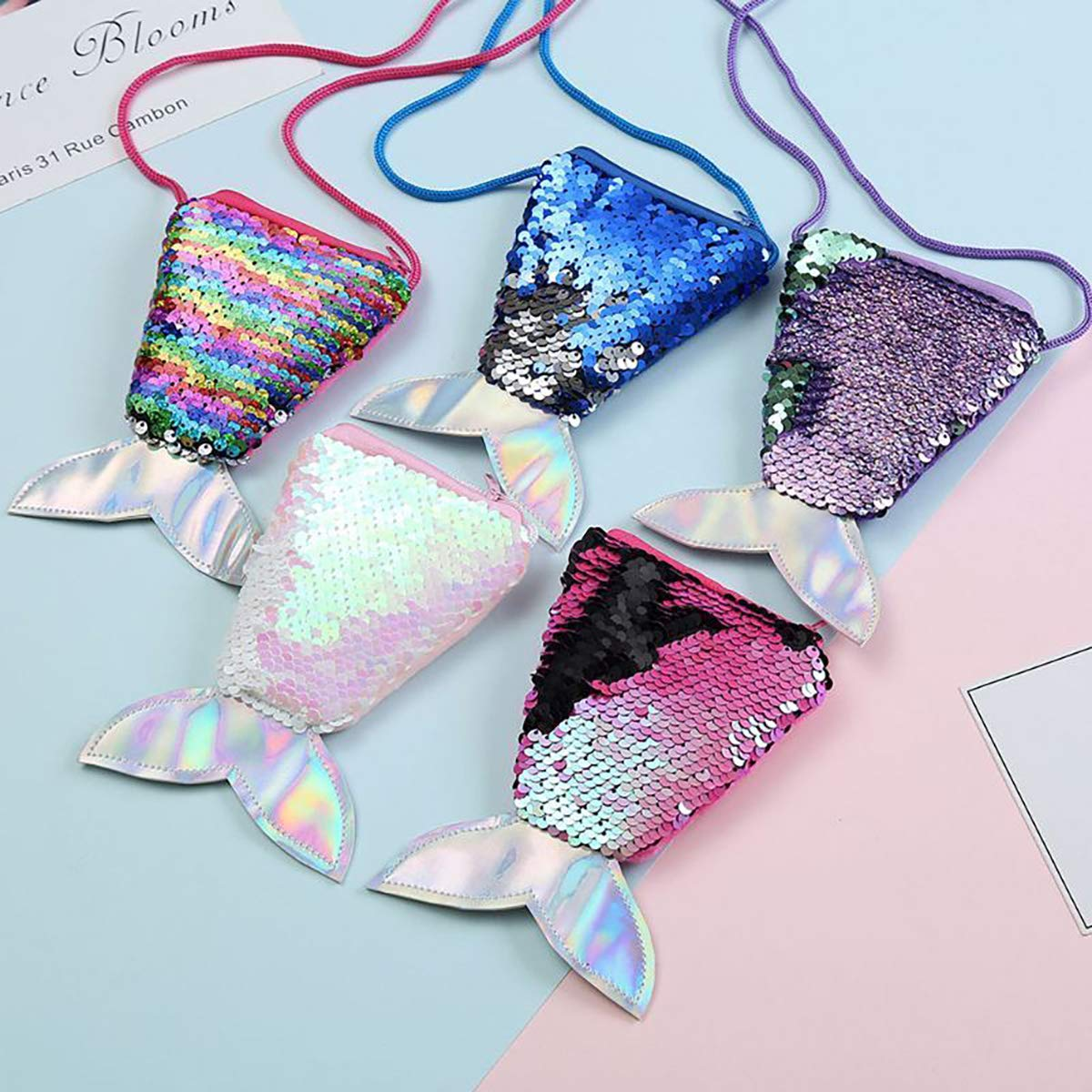 Mermaid Sequins Plush Little Bag Perfect Novelty Gift for Girls 3 to 10 Years Kids