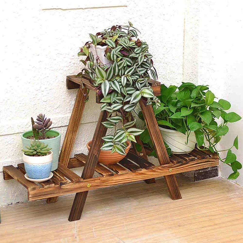 DEED Flower Rack 75  45  26Cm Scaffali Scaffali per vasi da Fiori in Legno massello a Piano Unico Soggiorno con Struttura in Legno per balconi Interni ed Esterni Scaffale Decorativo per vasi sa