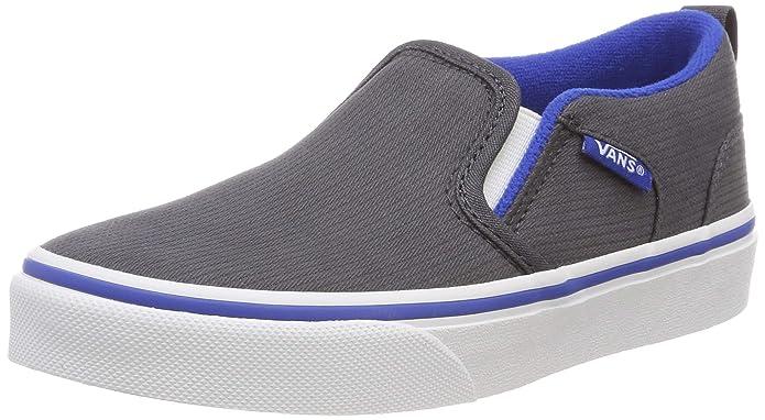 Vans Kinder Asher Unisex Sneaker Grau Blau (Micro Herringbone) Ebony/Lapis Blue Vw6