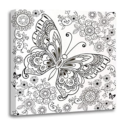 0793cb04a80 Emvency Painting Canvas Print Wooden Frame Artwork Decorative Adult  Butterfly with Floral for Anti Stresa Coloring