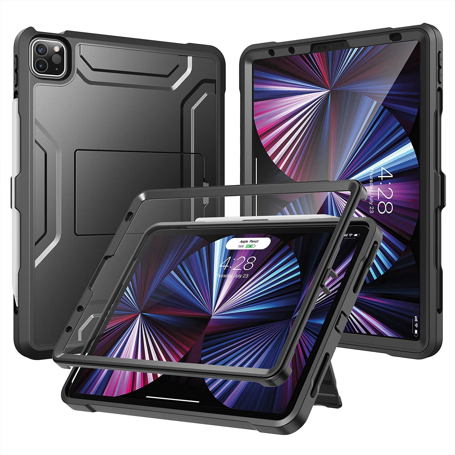 Soke Case for iPad Pro 11 2021 with Built-in Screen Protector - Support 2nd Apple Pencil Charging - Heavy Duty Rugged Protective Kickstand Case for iPad Pro 11 Inch 3rd Generation - Black