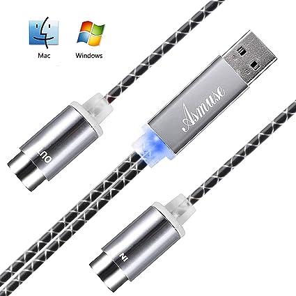 Asmuse™ MIDI a USB Cable de Interfaz Convertidor MIDI de Configuración Automática con LED para