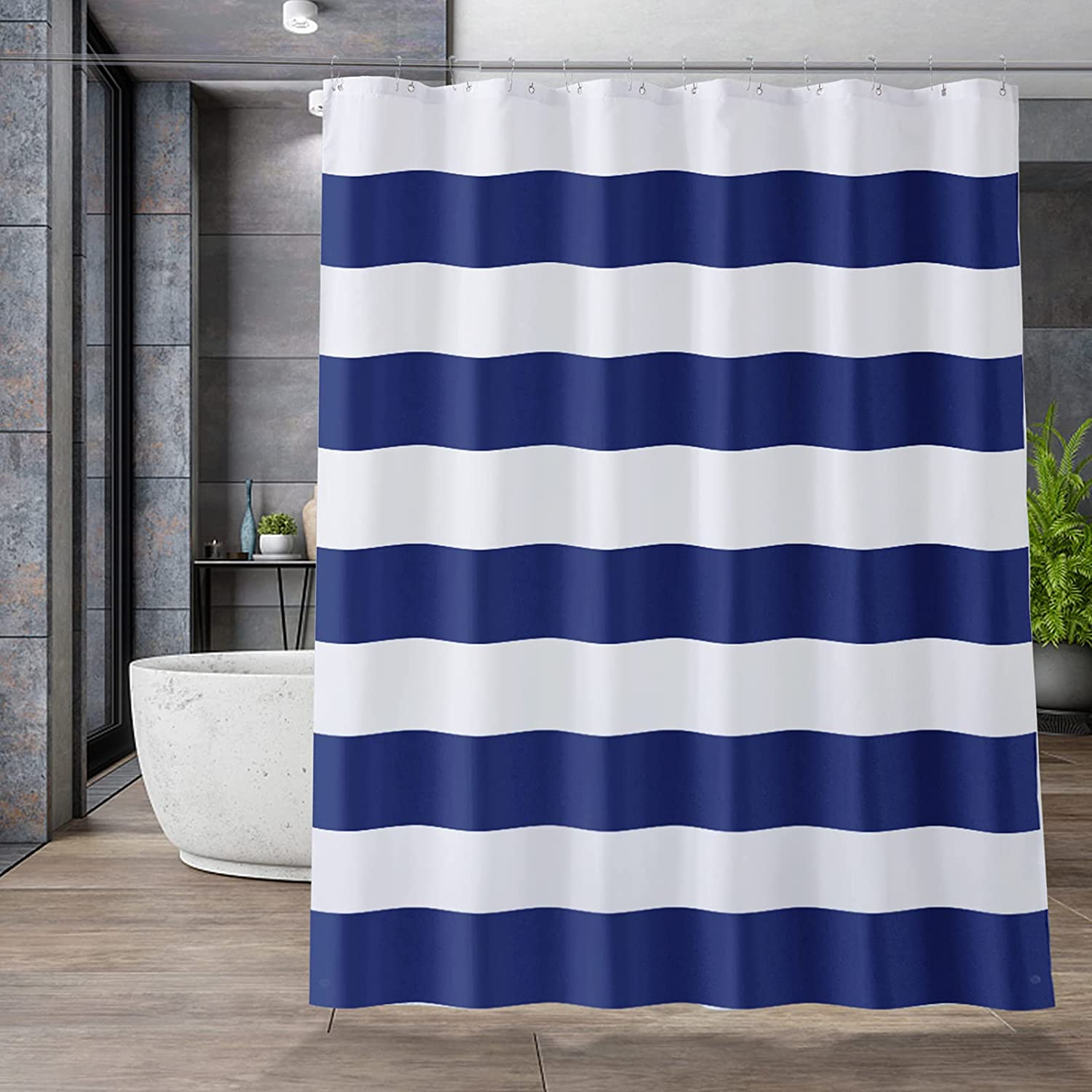 AmazerBath Navy Blue Shower Curtain Liner Blue Stripe Shower Curtain Navy for Bathroom 70x72 Inches Fabric Shower Curtain Liner 85 GSM Light with 2 Magnets Washable Waterproof for Home and Hotel