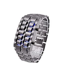 TOOGOO(R) Blue Led Digital Lava Iron Style Metal Sports Watch