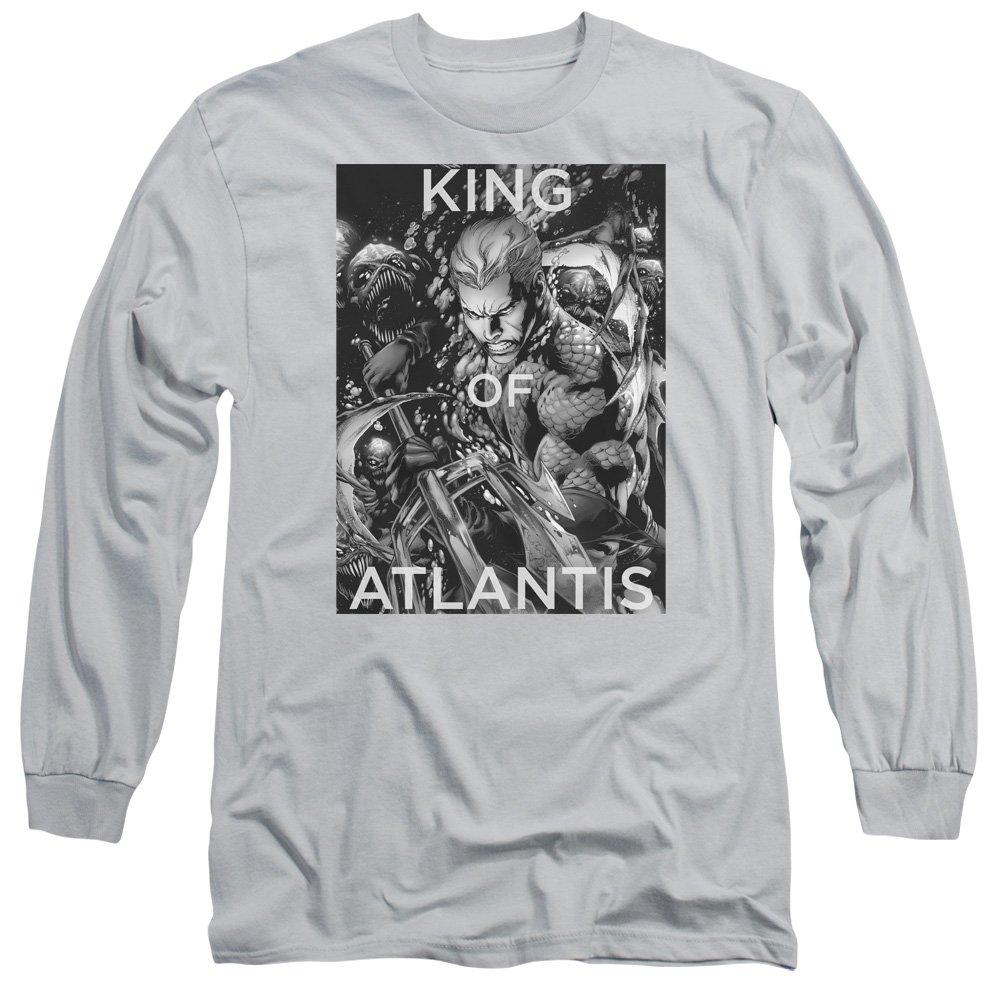 Silver Justice League  Mens King Of Atlantis Long Sleeve TShirt