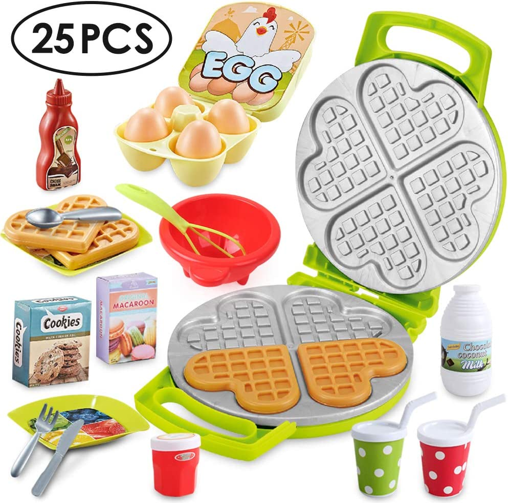 Beebeerun Pretend Play Kitchen Set,Play Food Toys, New Sprouts Waffle Time Variety Toys Gift for Kid ,Toddlers Pretend Food Playset Children Toy Food Set