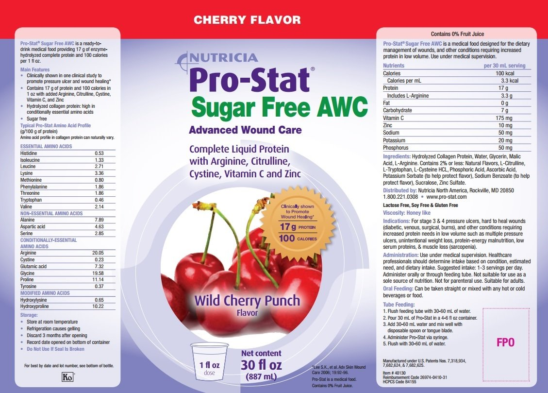 Pro-Stat Sugar Free AWC, Wild Cherry Punch, 30 fl oz by Pro-Stat by Nutricia