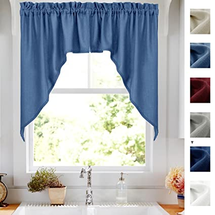 Semi Sheer Swags Valances Window Panels, Casual Weave Textured Swag  Draperies For Kitchen Windows (
