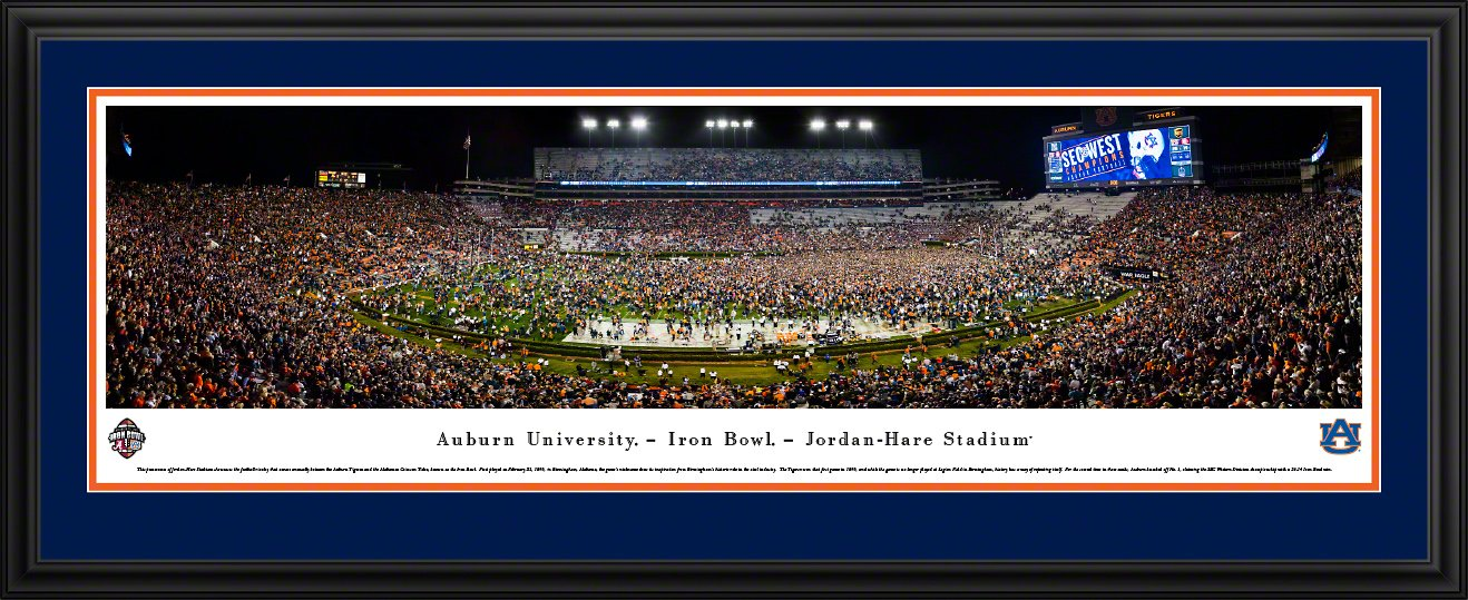 Auburn Tigers Football (Iron Bowl 2017) - Blakeway Panoramas Poster with Deluxe Frame and Double Mat