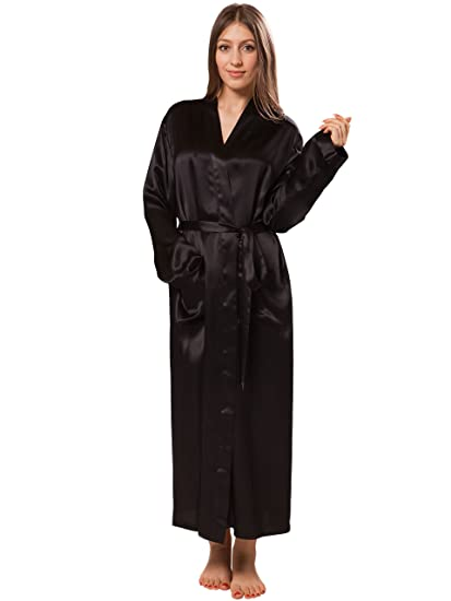 bad77b2251 ElleSilk Women s 100% Silk Dressing Gown