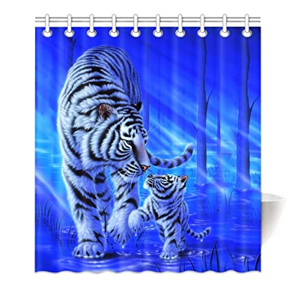 72x72/'/' Bathroom Waterproof Mildew Shower Curtain 12 Hooks White Siberian Tiger