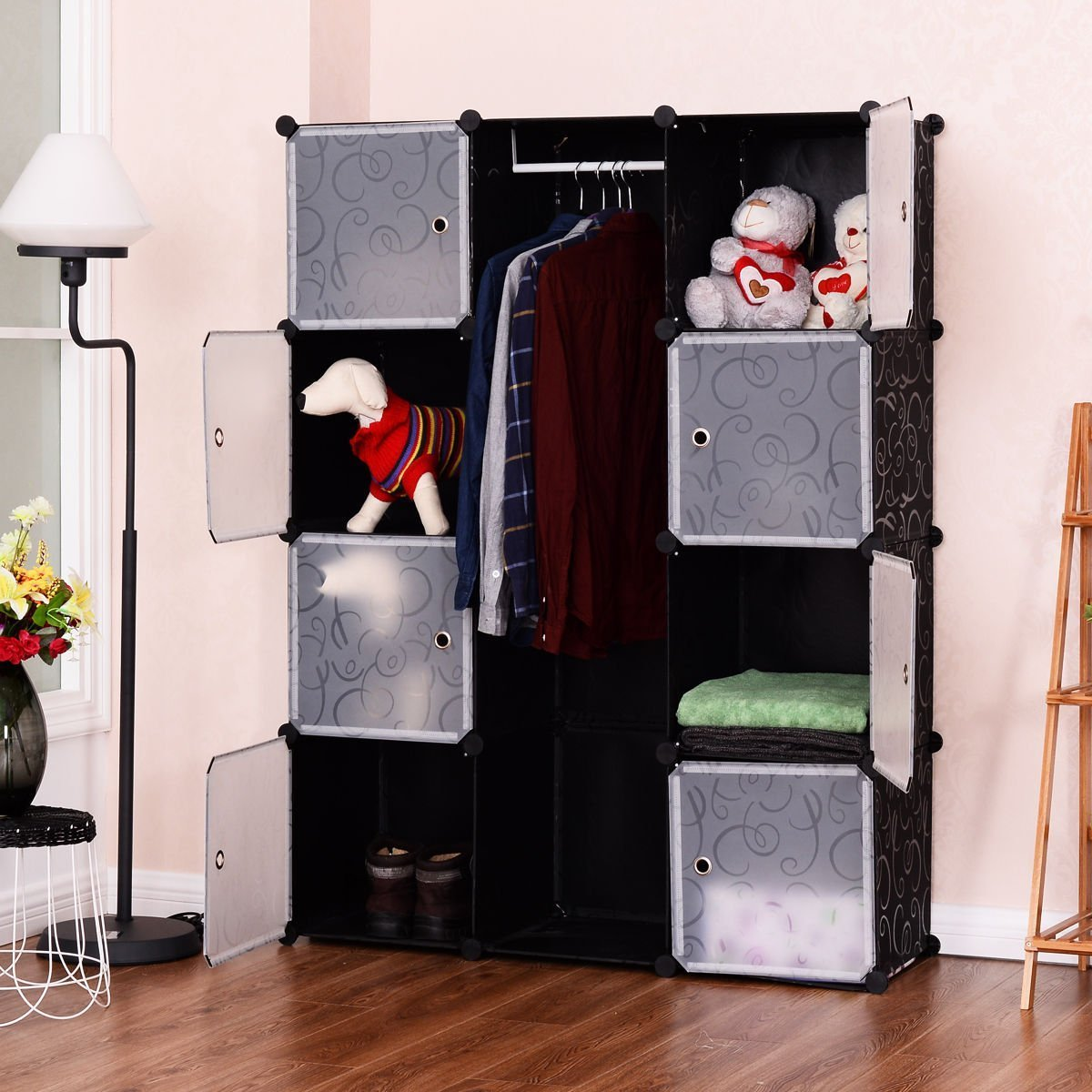 TANGKULA Portable Clothes Closet Wardrobe Bedroom Armoire DIY Storage Organizer Closet Doors, 8 Cubes 1 Hanging Sections