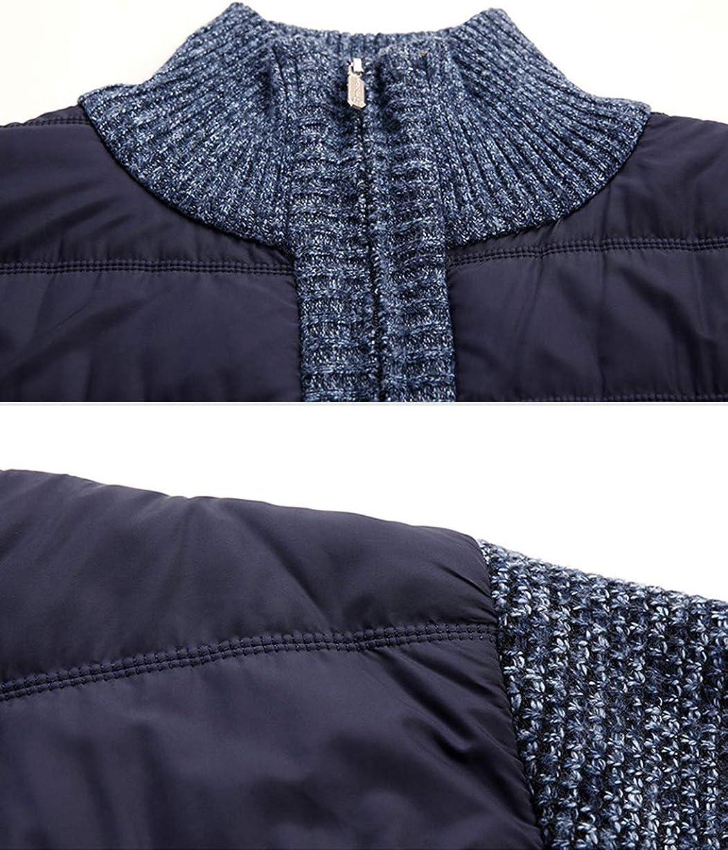 Mans Stylish Camouflage Fleece Lined Patchwork Knitwear Jacket Cardigan Coat