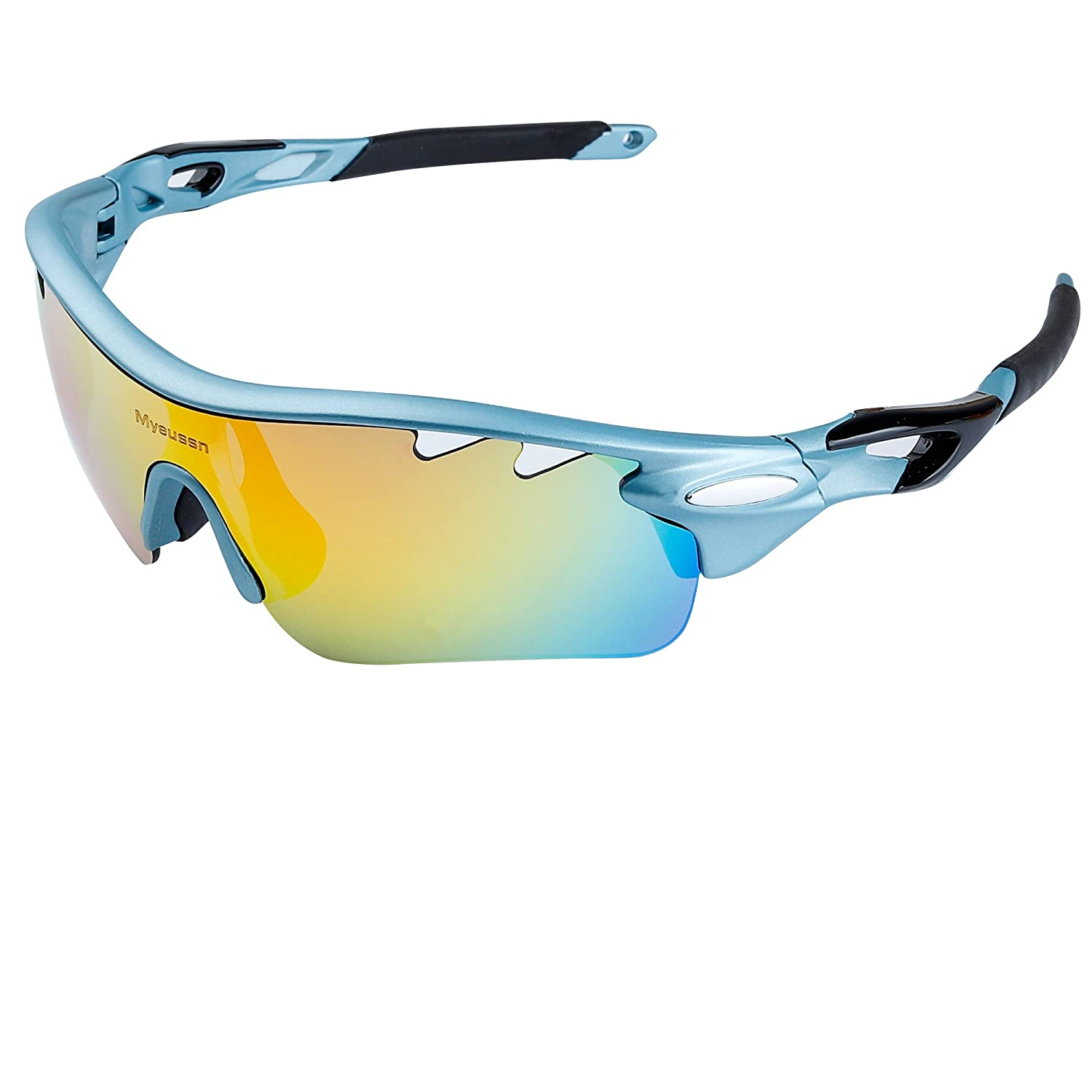 ce4715467f Amazon.com  Myenssn Polarized Sports Sunglasses UV400 With 5  Interchangeable Lenes for Men Women Cycling Running (Blue+Black)  Clothing