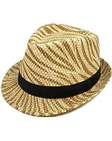 Unisex Light Brown Zebra Print Black Band Fedora Straw Hat